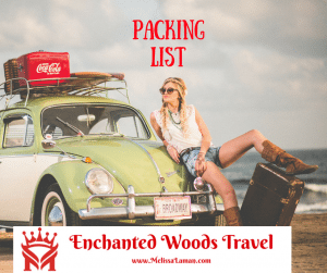 Packing List Lady with suitcase and car